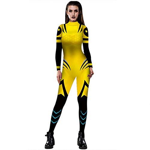 WSJ Halloween Kostüme für Damen, Damen X-Men 3D Digital Print Eng anliegender Kostüm Body mit Rückendruck - Sexy Kostüm Jumpsuit - Einfach Xmen Kostüm