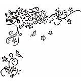 Pegatina de pared vinilo adhesivo decorativo para cuartos, dormitorio,cocina, ... flores y mariposas Color Negro OPEN BUY