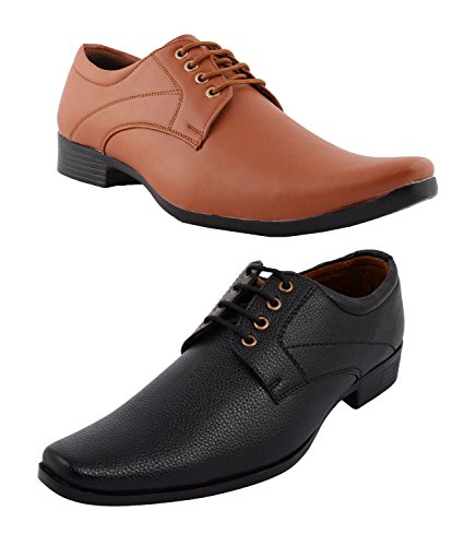 Red Foot Men's Leather Look Pack of 2 Casual and Formal Shoes 110 (7)