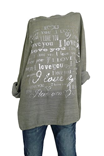 Süße Damen Statement Bluse Blusenshirt I LOVE YOU Schrift Herz Print in silber M L 38 40 42 (8050) Olivgrün