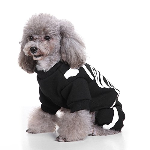 (Lustige Skelett Hund Haustier Hoodie Kleidung Halloween Hund Kostüm Pet Party Dress up Kleidung)