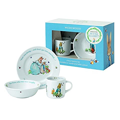 Wedgwood Boy's Peter Rabbit 3-Piece Plate, Bowl and Mug Set, White and Blue by BabyCentre