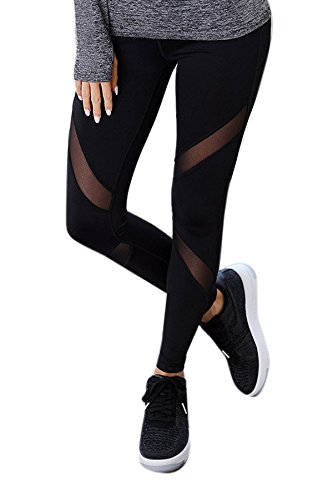 BLINKIN Mesh Yoga Gym and Active Sports Fitness Black Leggings Tights for Women|Girls (2760)(size-32)