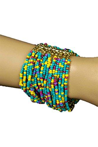 Karneval-Klamotten Hippie Armbänder Hippie Armband Damen 60er Jahre Perlen Blau