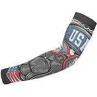 Bull Dog Bandera de Estados Unidos con bandana Artw imagen de brazo, mangas protectoras para el sol, unisex, deportes al aire libre (1 par)