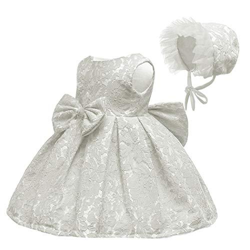 LZH Abito da Battesimo Bambina Pizzo Costume da Cerimonia per Principessa Fiore Pizzo con Fascia