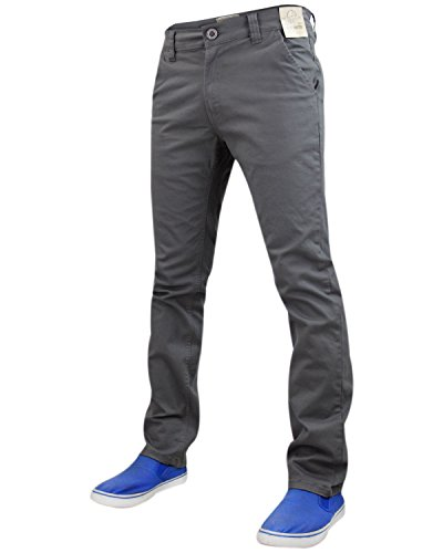 Jack South Pantaloni stretch da uomo, Slim Fit, chino, pantaloni a gamba dritta Mid Grey 36W x 32L