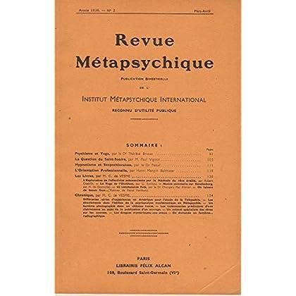 Revue metapsychique - psychisme et yoga par t. brosse - la question du saint-suaire par paul vignon - hypnotisme et scopochloralose par le dr pascal -