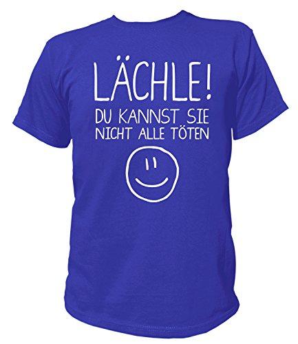 Artdiktat Herren T-Shirt - Lächle - Du Kannst Sie Nicht Alle Töten - Funshirt Humor Fun Spaß Kult Funny Spruch Größe M, Blau (Spa-tote)