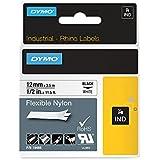 Dymo Rhino Etiquettes Industrielles Nylon Flexible 12mm x 3,5m - Noir sur Blanc