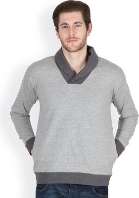 Hypernation Light Grey Color Long Sleeves Shawl Collar T-Shirts For Men