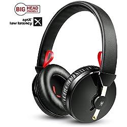 Auriculares Bluetooth Over Ear, APTX-LL inalámbricos con Almohadillas de Espuma Ligera y Controlador Dual de 40 mm, Auriculares Ajustables con Alta TV, Smartphone, Tableta, Sistema Hi-Fi