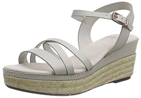 Fred de la Bretoniere Fred rope plateau sandalet cross straps 7.5cm wedge Formentara Mid, Sandales Bout ouvert femme - Gris - Grau (Hielo), 38
