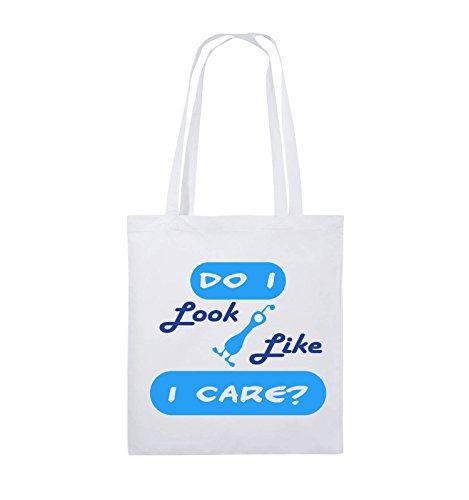 07dd8dbd22444 Comedy Bags Do I look like I care Jutebeutel lange Henkel 38x42cm Farbe  Schwarz   WeissNeongrün Weiss   RoyalblauHellblau
