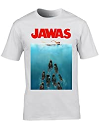 Naughtees clothing - Jawas from Tatooine in a Jaws poster style T-shirt. A funny take on the classic Jaws movie poster.