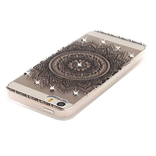 Coque iPhone 5 Doux TPU, iPhone 5S Noctilucent Case, iPhone SE Arrière Etui, Moon mood® Ultra Mince 4.0 pouces Soft Flexible Souple TPU Étui Luminous Rhinestones Housse iPhone 5 5S SE Téléphone Cellul 1 Style-1