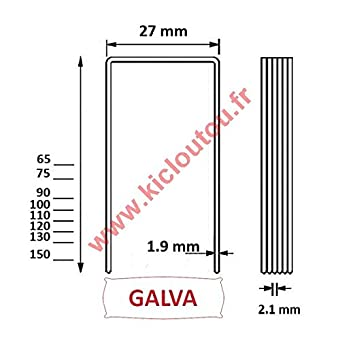 Agrafes BS 110 mm Galva - Boite de 1000 pour panneau isolant épais