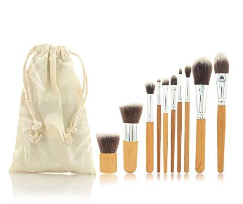 10 pcs Brosse Cosmétique professionnelle Blush Ensemble de poignée en bambou Pinceaux de maquillage