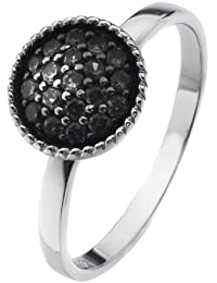 Virtue Silver Stackable VRS6007 with Multi Black Cubic Zirconia Circular Crown