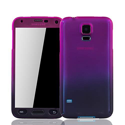 König Design Handy-Hülle Kompatibel mit Samsung Galaxy S5 / S5 Neo Schutz-Case Full-Cover 360 Rundum Schutz 9H Panzer Schutz Glas Pink/Violett (Glas-handy Cover-galaxy S5)