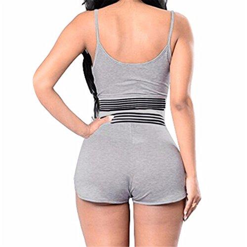Italily - Monopezzi e tutine,Tuta sportiva a righe da donna sexy a righe con pantaloncini sportivi a pezzi Gray