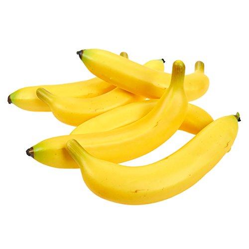 (Juvale Set von 6individuellen Fake Früchte, Bananen, künstliche Kunststoff Bananen für Stillleben Gemälde, Schaufenster Dekoration, Küche eingerichtet, gelb, 20,3x 9,4x 3,8cm)