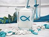 ZauberDeko 6X Kerze Votivkerze Fisch Türkis Petrol Blau 6X Votivglas Kommunion Konfirmation Tischdeko Kerzenglas - 6