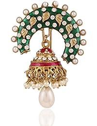 Joyas artesanales divinegem mujeres I Meenakari y perla Jhumka con perno de pelo de oro