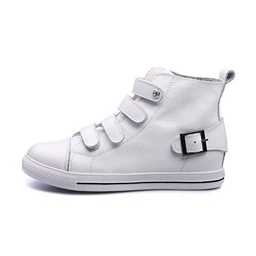 Formatori Classici Shenn Pelle Alta Caviglia Scarpe Sneaker Donna Bianca Fibbia x1wwTP7Hq