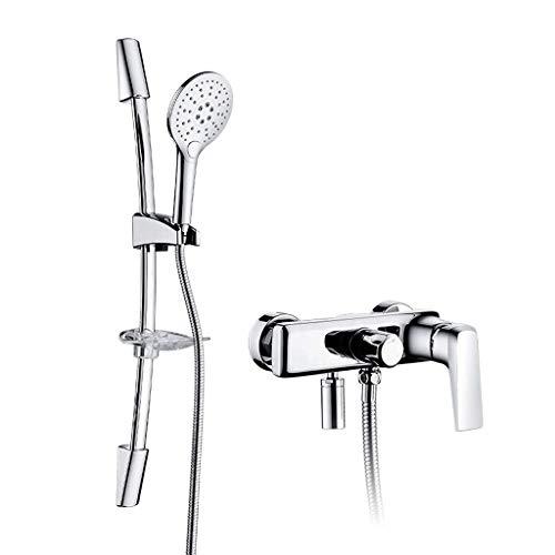 Duschsystem im europäischen Stil, 3-Funktions-Handbrause, verstellbare Gleitschiene und Seifenschale, poliertes Chrom-Finish -