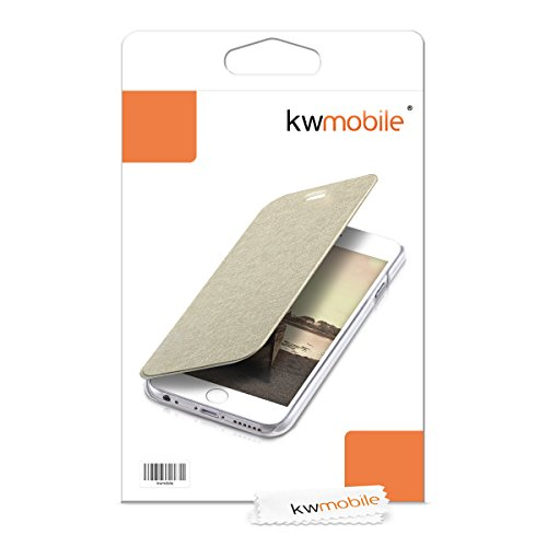 kwmobile Hülle für Apple iPhone 6 / 6S - Bookstyle Case Handy Schutzhülle Kunststoff - Flipcover Klapphülle Rosegold Transparent .Gold Transparent