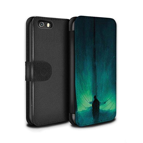 Offiziell Chris Cold PU-Leder Hülle/Case/Tasche/Cover für Apple iPhone 5/5S / Hohe Königin Muster / Dunkle Kunst Dämon Kollektion Bösen Herzens
