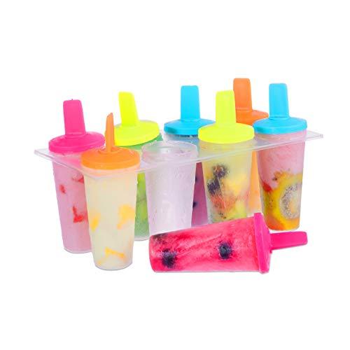 Relaxdays Eis am Stiel Formen, 8 Stück, Eisformen, Ice Pop, DIY, bunt, für Kinder und Erwachsene, rund, transparent