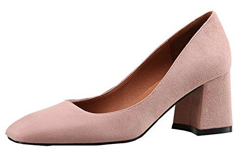 Aisun Femme Confort Bout Carré Chaussures de Travail Escarpins Rose