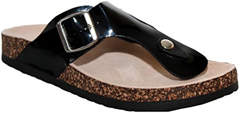 0c33a177ebb37b mesdames wo brevets feuillet plat réconfort été liège seul seul seul orteil  en cuir taille post tong sandales royaume uni b01evh6v32 parent ...