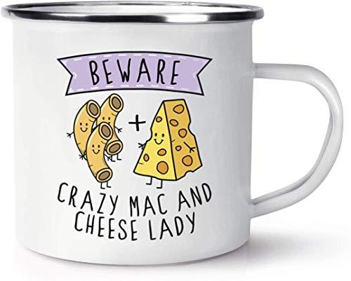 Enamel Mug 10oz Hot Chocolate Mug Beware Crazy Mac and Cheese Lady Enamel Mug Funny Mug Coffee Mug