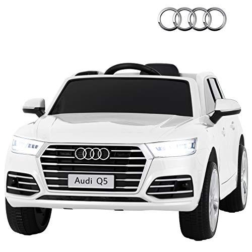 Uenjoy Ride on Car 12V Battery Power Voitures Electriques pour Enfants Voitures Motorisées pour Enfants (Audi-Blanc)
