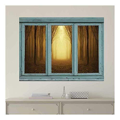 TANGGOOD - Vintage Teal Fenster mit Blick auf ein helles gelbes Licht und Sepia Forest - Fototapete, abnehmbare Aufkleber, Inneneinrichtungen - 24 x 32 Zoll -