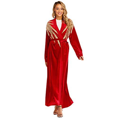 VECOLE Damenoberteile Sommermode für Frauen Nationalmantel Arabische National Islamische Moslemisches Nahes Langes Kleid Verband Rote Strickjacke Robe(rot,M) -