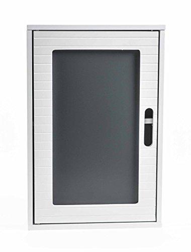 Preisvergleich Produktbild Badezimmer Wandschrank, rustikales Design, 2 Fächer, Magnetverschluss, Höhe ca. 48,5 cm, weiß-grau