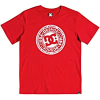 DC Shoes Circle Star - Camiseta para Chicos 8-16 Camiseta, Niños, Racing Red//White, 12/M