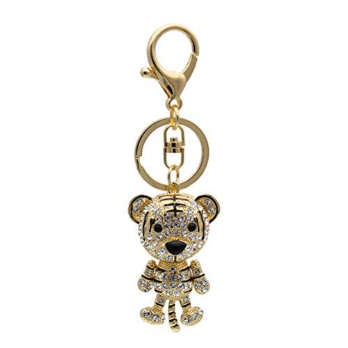 Vosarea Tiger, niedlich, aus Legierung, Strass, Schlüsselanhänger, modisch, Schlüsselanhänger, Handtasche, Tasche, Anhänger, Dekoration, kreatives Geschenk (Gold und Weiß)