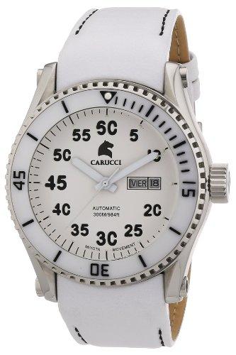Carucci Watches Tarent CA2196WH - Reloj analógico automático para hombre, correa de cuero color blanco