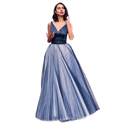 Damen Kleider Elegant Partykleider Chiffon Sommerkleid Charmeuse V-Ausschnitt Aermellos Lang Abendkleider Festkleider Cocktailkleid -