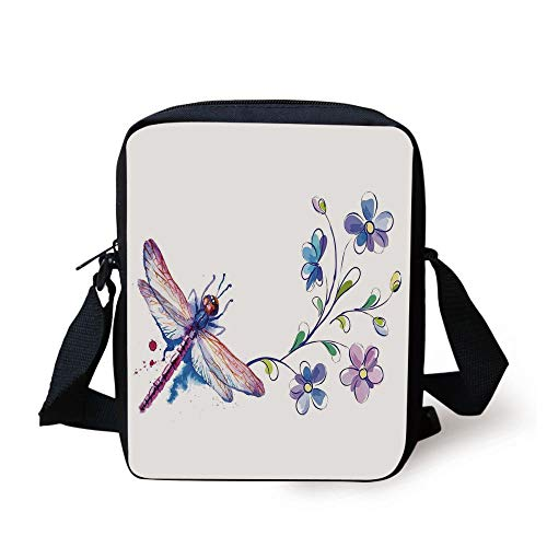 Dragonfly,Watercolor Bug Butterfly Like Moth with Branch Ivy Flowers Lilies Art,Green Purple and Blue Print Kids Crossbody Messenger Bag Purse