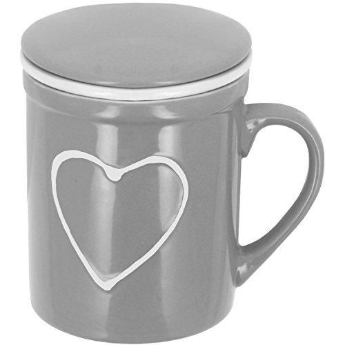 Promobo - Mug Infuseur Tasse Tisanière Avec Filtre Et Couvercle Tag Coeur Relief Gris