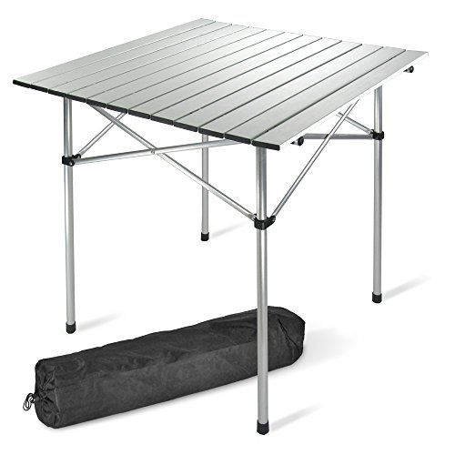 JOM Table de camping, table 70 x 70 cm en aluminium seulement 2,4 kg Table pliante, table coulissante, incl. Étui