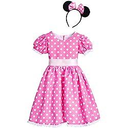 OBEEII Disfraz Princesa Tutú Vestido de Fiesta Polk Dots Vestido Lunares para Bebés Niñas Traje de Carnaval Navidad Cumpleaños Baile Bautizo Rosa 5-6 Años