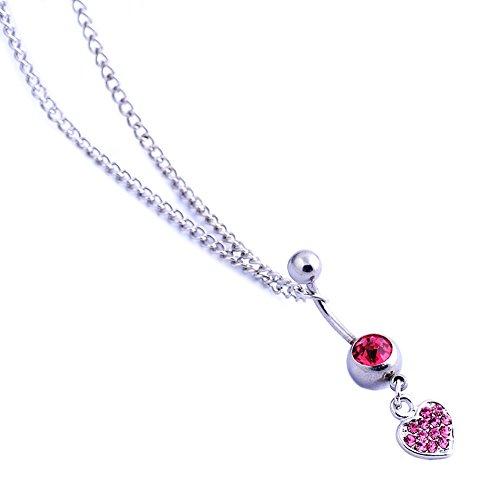 Oasis Plus 14g rosa cuore di cristallo ombelico danza vita catena cintura corpo Piercing