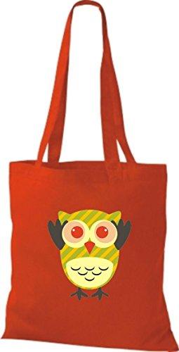 ShirtInStyle Jute Stoffbeutel Bunte Eule niedliche Tragetasche mit Punkte Owl Retro diverse Farbe, weiss rot